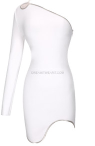 One Sleeve Silver Trim Dress White
