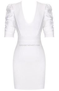Short Sleeve Backless Dress White