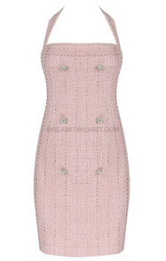 Halter Button Detail Dress Dusty Pink
