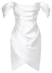Bardot Draped Satin Dress White