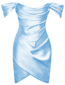 Bardot Draped Satin Dress Blue