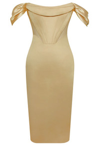 Draped Bardot Midi Satin Dress Gold