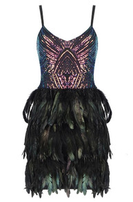 Sequin Feather Dress Black