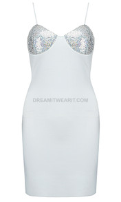 Sequin Bustier Dress Silver White