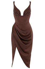 Draped Corset Midi Satin Dress Brown