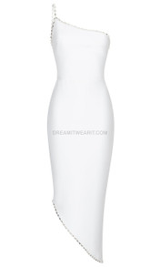 One Shoulder Embellished Dress White