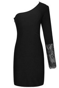 Lace One Sleeve Dress Black