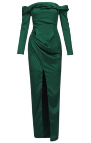 Long Sleeve Bardot Draped Maxi Dress Green