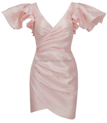 Frill Sleeve Draped Satin Dress Pink