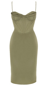 Bustier Corset Midi Satin Dress Green
