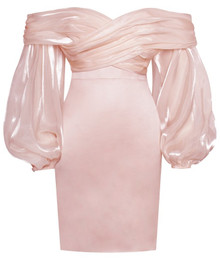 Puff Sleeve Draped Bardot Satin Dress Pink