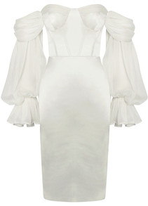 Puff Sleeve Bardot Bustier Midi Satin Dress White