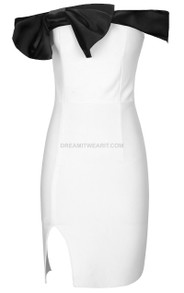 Bardot Dress Black White