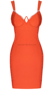 Rhinestone Trim Bustier Ruched Dress Orange