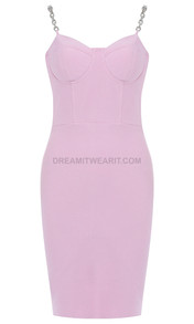 Chain Strap Bustier Dress Pink