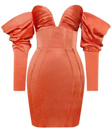 Long Sleeve Bardot Satin Dress Rust Orange