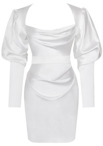 Puff Long Sleeve Satin Dress White