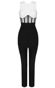 Structured Jumpsuit Black White