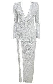 Long Sleeve Sequin Draped Maxi Dress Silver