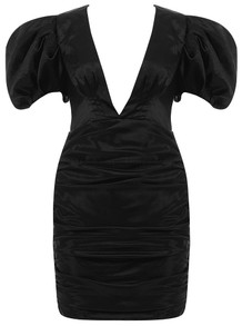 Puff Sleeve Ruched Satin Dress Black