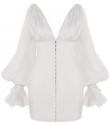 Puff Sleeve Corset Dress White