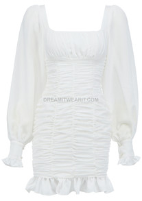 Puff Sleeve Ruched Dress White