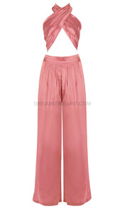 Halter Draped Satin Jumpsuit Coral