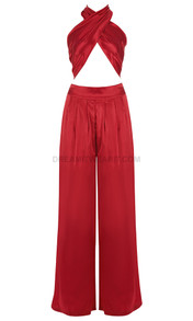 Halter Draped Satin Jumpsuit Red