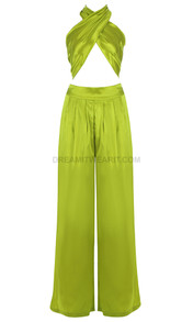 Halter Draped Satin Jumpsuit Green
