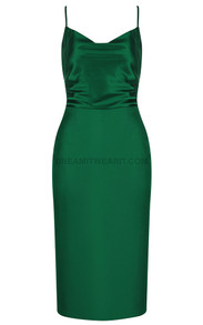 Backless Midi Satin Dress Green