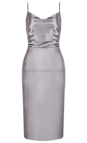 Backless Midi Satin Dress Silver