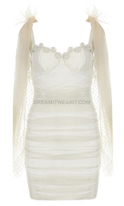 Bustier Crochet Ruched Mesh Dress Ivory