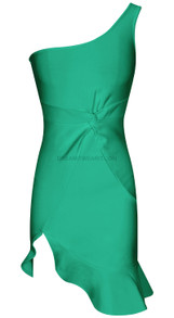 One Shoulder Fluted Dress Green