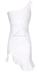 One Shoulder Fluted Dress White