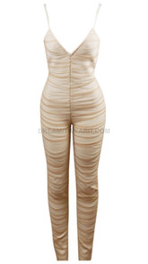 Ruched Mesh Jumpsuit Nude