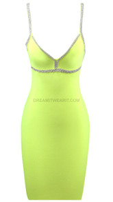 Rhinestone Trim Dress Neon