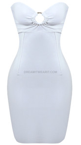 Strapless Ruched Cut Out Dress White