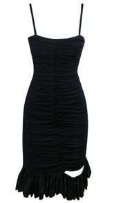 Ruched Cut Out Ruffle Dress Black