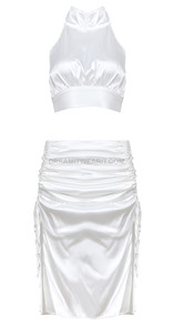 Two Piece Ruched Midi Satin Dress White