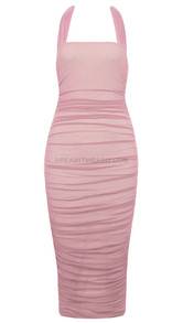 Halter Ruched Mesh Midi Dress Pink - Dreamitwearit.com