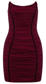 Strapless Ruched Mesh Dress Burgundy