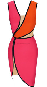 Asymmetric Mesh Insert Dress Pink Orange