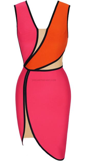 Asymmetric Mesh Insert Dress Pink Orange
