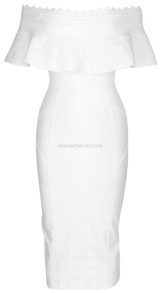 Frill Detail Bardot Midi Dress White
