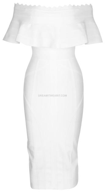 Frill Detail Bardot Midi Dress White