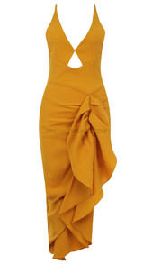 Halter Backless Ruffle Midi Dress Yellow