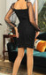Puff Sleeve Lace Up Ruched Dress Black