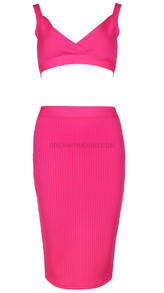 Ribbed Two Piece Midi Dress Pink