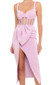Bustier Structured Draped Midi Dress Pink