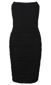 Strapless Ruched Corset Dress Black